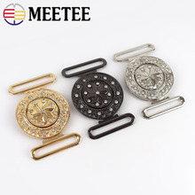 Meetee 2/4pc 4cm Metal Rhinestone Button Belt Buckles for Coat Garment Hooks DIY Clothes Bags Sewing Connection Buckle Accessory
