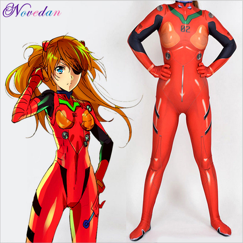 Evangelion Asuka Langley Soryu Jumpsuits Anime Ayanami Rei Cosplay Costume Women Halloween Costume Zentai Suit Bodysuit(China)