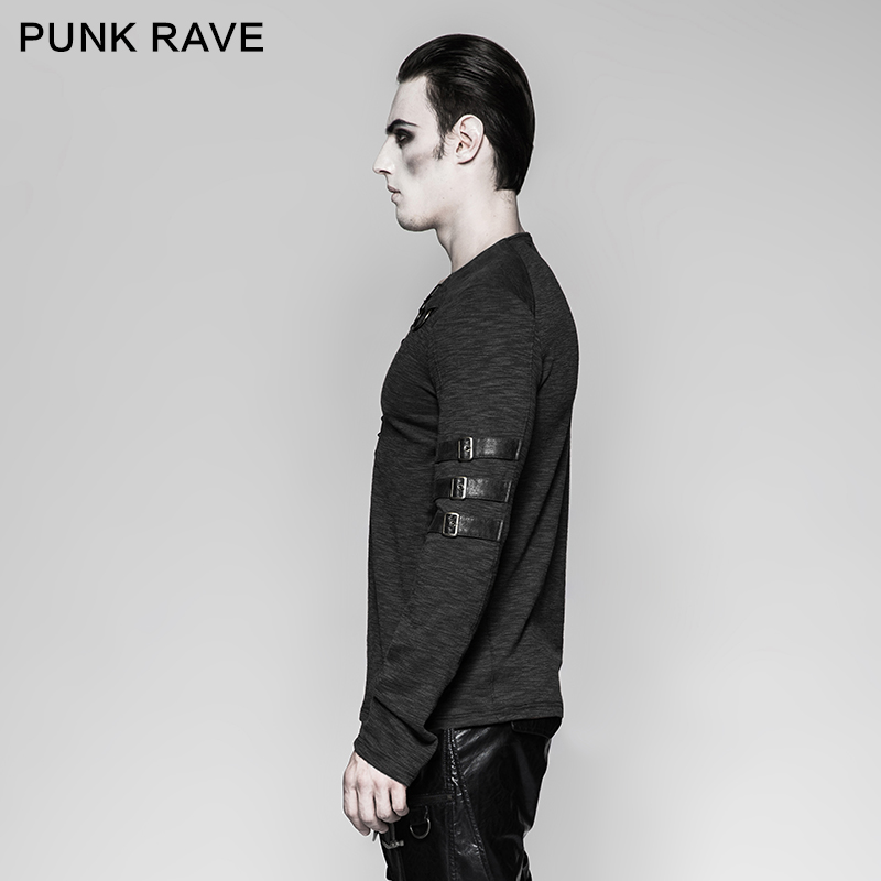 Punk Rave Men's Gothic Steampunk Long Sleeve T shirt Chest Strap Deep V neck Sexy Tops Steampunk Street Cool T shirt - 2