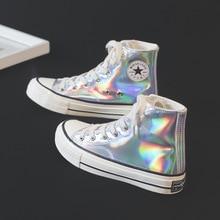 2019 Spring Women canvas Flats Platform Shoes Woman Patent L