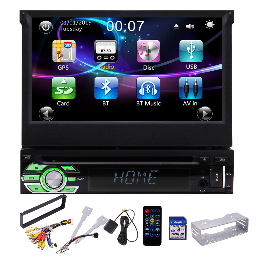Single Din Car Stereo DVD CD Player GPS 7 inch Capacitive <font><b>Touchscreen</b></font> Bluetooth Car AM/FM Radio Steering Wheel Control USB image