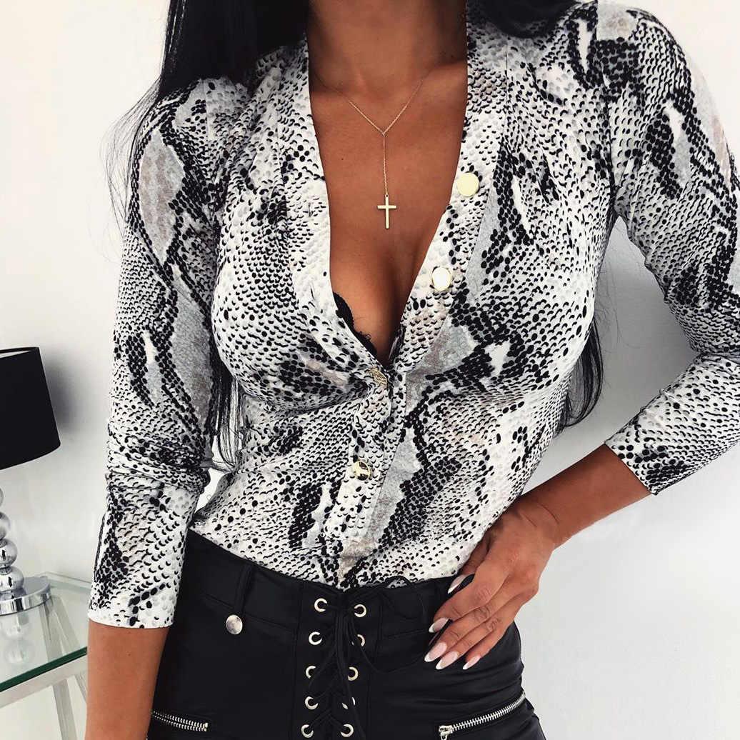 Vrouwen sexy romper bodysuit Fashion snakeskin Club Streetwear herfst zomer outfits Lange mouwen slim Turnpakje top Jumpsuit kleding