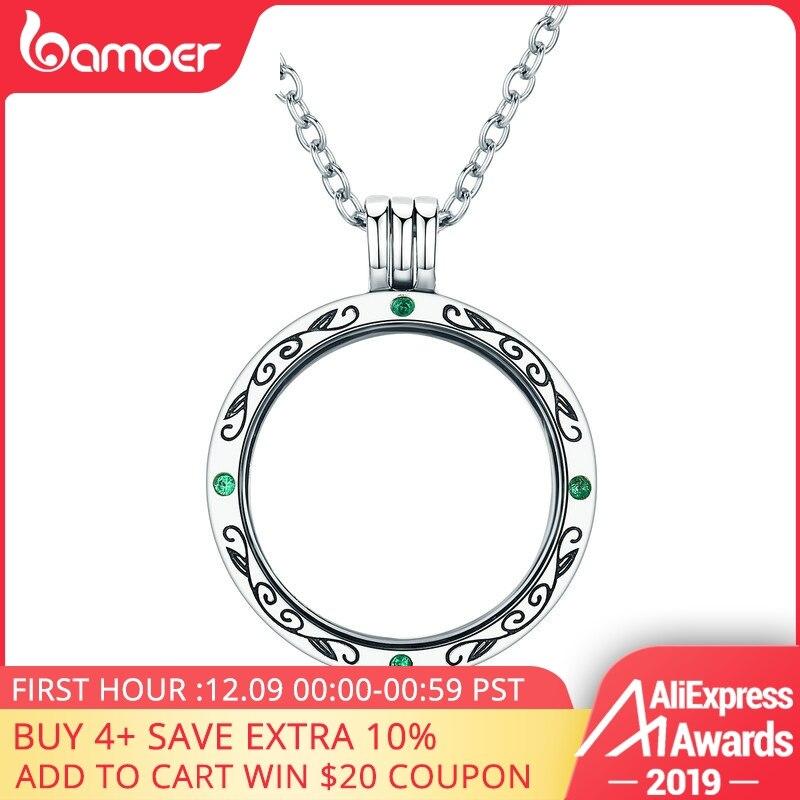 BAMOER 100% Подлинная 925 пробы Серебряная Тайна Коробка питания маленькая плавающая медальон ожерелья для женщин серебряные ювелирные изделия
