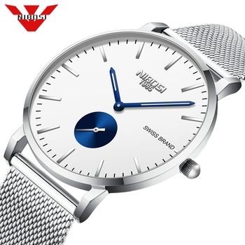 NIBOSI Relogio Masculino Mens Watches Top Brand Luxury Fashion Watch Slim Mesh Waterproof Quartz Watch Men Relogio Masculino