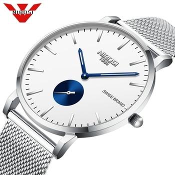 NIBOSI Relogio Masculino Mens Watches Top Brand Luxury Fashion Watch Slim Mesh Waterproof Quartz Watch Men Relogio Masculino