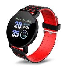 119 בתוספת חכם שעונים עמיד למים קצב לב צג גשש כושר Informaition תזכורת נשים צמיד גברים Smartwatch