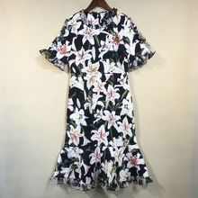 2019 Autumn floral print flare sleeves Mermaid dress high quality beading womens party A967