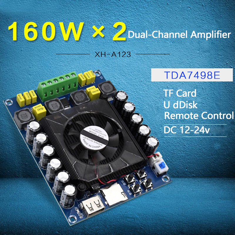 TDA7498E Power Digital Amplifier Board Stereo Dual-Channel 2*160W Support U Disk TF Card Amp Audio Amplifier With Remote Control