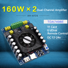 TDA7498E Power Digital Amplifier Board Stereo Dual-Channel 2*160W Support U Disk TF Card Amp Audio Amplifier With Remote Control dc24v 4a 160w 160w fx1602s high power digital amplifier wireless bluetooth receiver with tpa6120 amp bluetooth amplifier