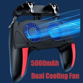Podwójny wentylator Cooler Gamepad dla kontrolera gra PUBG dla 4 7-6 5 cala H10 mobilna gra telefoniczna Shooter Joystick 500mAh chłodzenie Gamepad tanie i dobre opinie HitTime Brak NONE CN (pochodzenie) Gamepady 424434