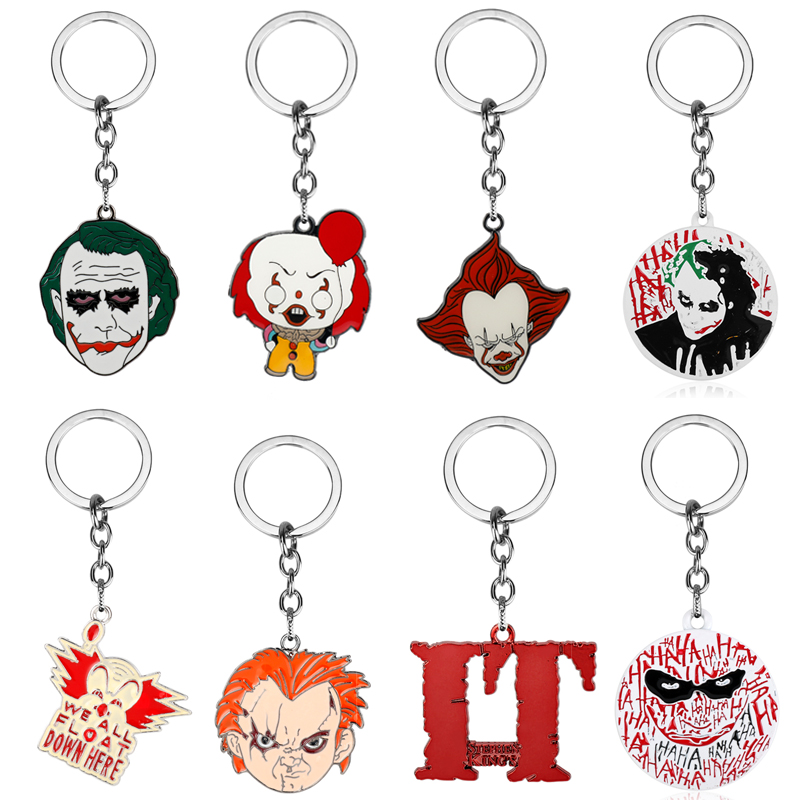 Movie DC Joker Batman Pennywise Keyring Keychain Stephen King's IT Chucky Enamel Key Rings Horror Halloween Gifts Key Chains