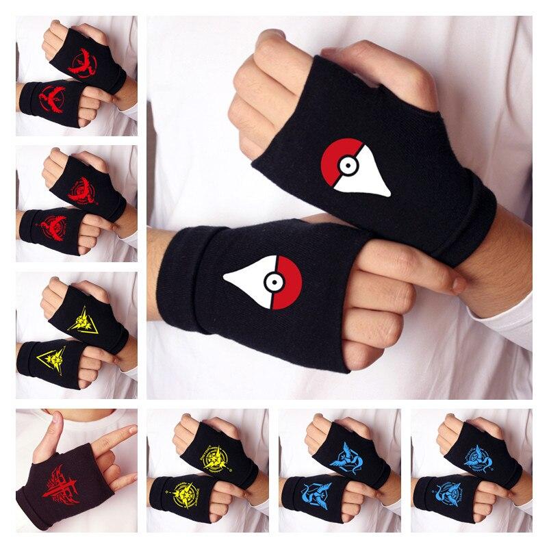 Anime Pokemon Go Pocket Monster Cosplay Gloves Pikachu Poke Ball Cotton Knitting Warm Half Finger Wrist Mittens Glove New