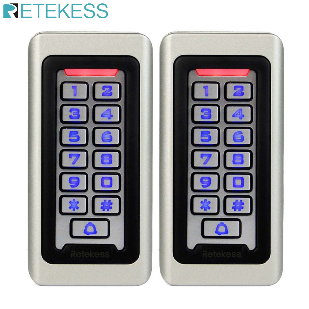 2pcs RETEKESS Keypad RFID Access Control System Proximity Card Standalone 2000 Users Door Access Control Waterproof Case F9501D