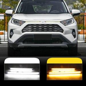 Luz LED de circulación diurna para coche con función de señalización de giro, cubierta decorativa para Toyota RAV4 2019 2020