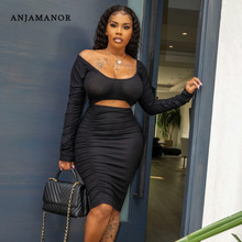 ANJAMANOR Sexy Bodycon Dresses for Women Fall Winter Ribbed Knitted Hollow Out Off Shoulder Long Sleeve Midi Dress D95-CZ33
