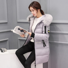 2019 New Winter Jacket Women High Quality Down Coat Female Long Slim Solid Color Jackets Zip Fur Collar