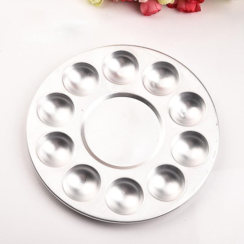 Round Painting Pallet 10 Hole Silver Aluminium Tray Gouache Watercolor Color Palette Art Palette Supplies 1PC