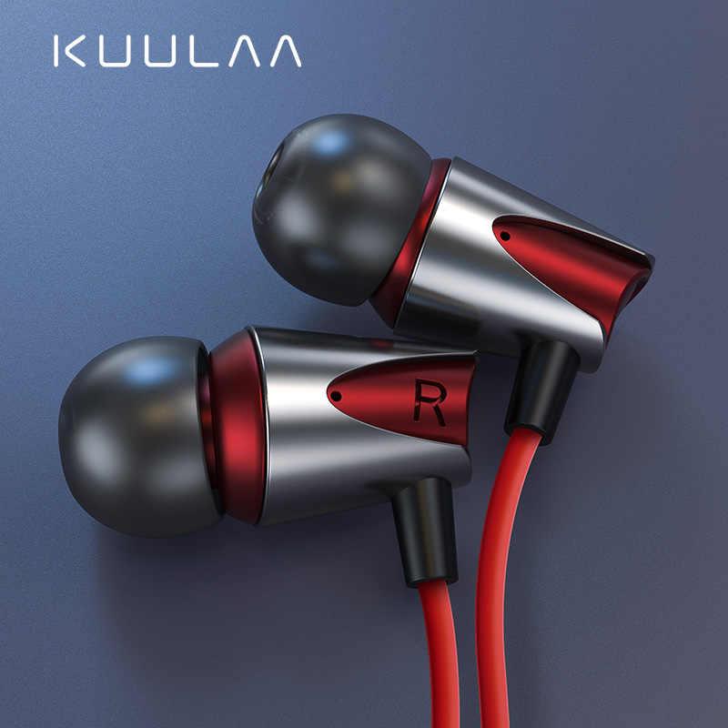 KUULAA سماعات مع ميكروفون السلكية سماعات في الأذن عميق باس 3.5 مللي متر جاك آيفون 6 5 شاومي سامسونج هواوي Fone دي ouvido