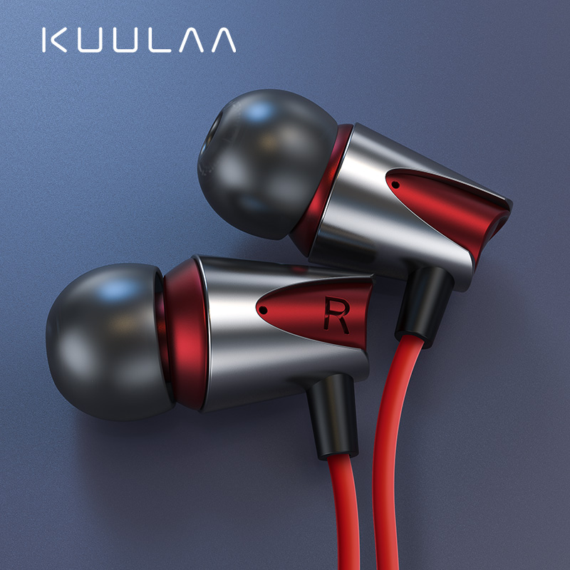 KUULAA Earphones with Microphone Wired Earbuds in Ear Deep Bass 3.5mm Jack for iPhone 6 5 Xiaomi Samsung Huawei Fone De ouvido