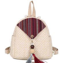 Women Backpack Small Straw Shoulder Bag Fashion Designer Straw Evening Bag Mini Pearl Zip Retro Tassel Beach Summer Girl Fashion