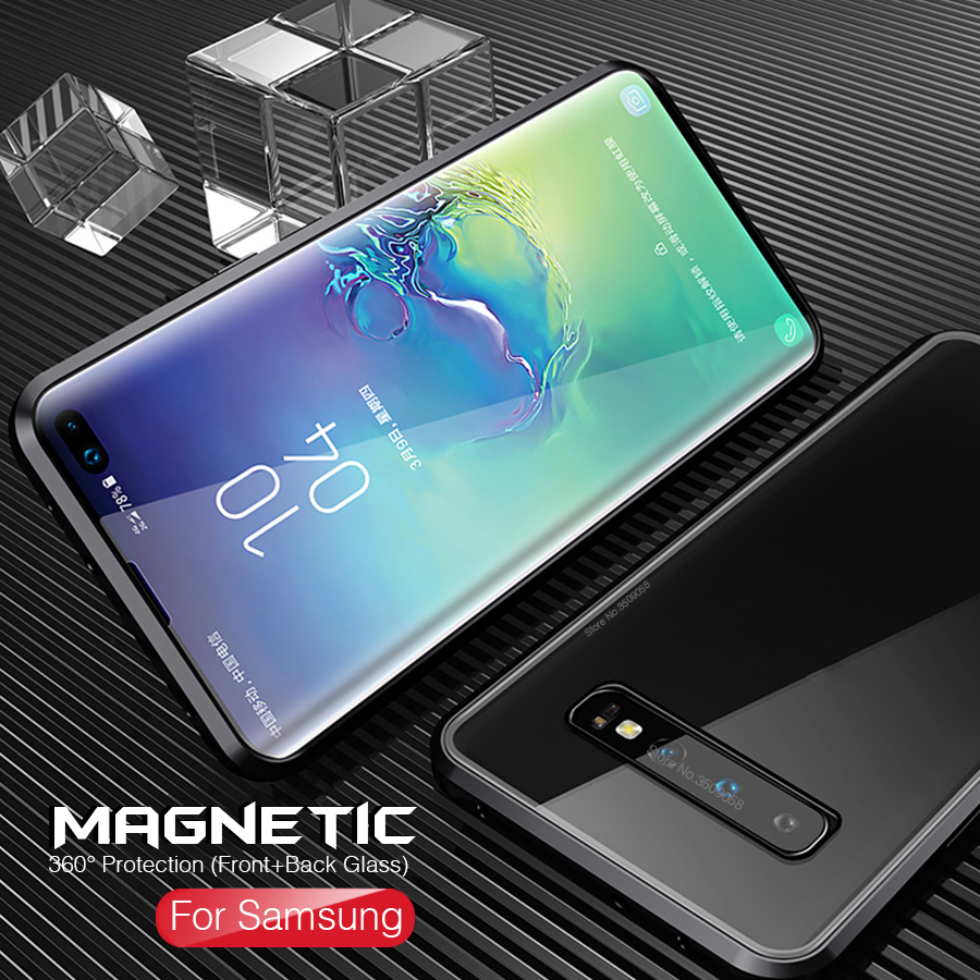360° Magnetic Double-sided <font><b>Glass</b></font> <font><b>Case</b></font> For <font><b>Samsung</b></font> Galaxy Note10+ Note 10 S10 Plus A20 A30 A50 A70 S10+ S10e <font><b>Glass</b></font> Magnet Cover image