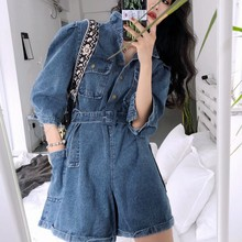Autumn Overalls for Women Fashion Vintage Female Overall Short Jumpsuit Big Pocket Casual Loose Rompers Womens