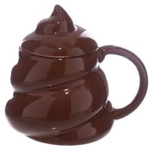 Funny Poop Ceramic Mug Cartoon Smile Coffee Milk Mug Porcelain Water Cup With Handgrip Lid Tea Cup Office Drinkware