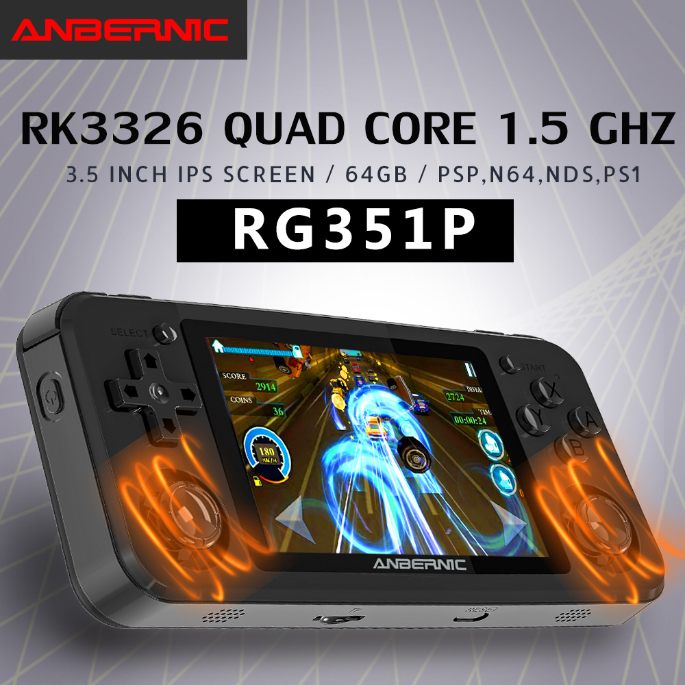 RG351P ANBERNIC  Retro Game PS1 RK3326 64G Open Source System 3.5 inch IPS Screen Portable Handheld Game Console RG351gift 2400 1