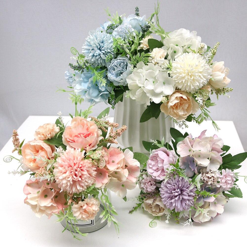 9 головок 1 штука смешанный цветок красивый пион искусственный цветок Гортензия Шелковый Искусственный букет для дома свадебное украшение ...