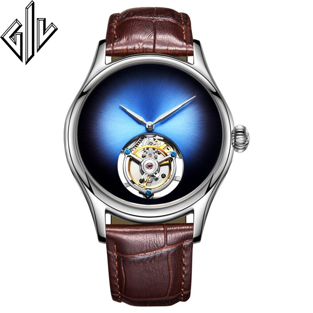 GIV Watch Men 100% Tourbillon Top Brand Skeleton Movement Men Sapphire Luxury Mechanical Watches Relogio Masculino New Model