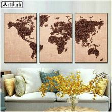 ArtBack three fight 5d diamond painting map coffee bean picture full square landscape diy 3d mosaic sticker wall decor