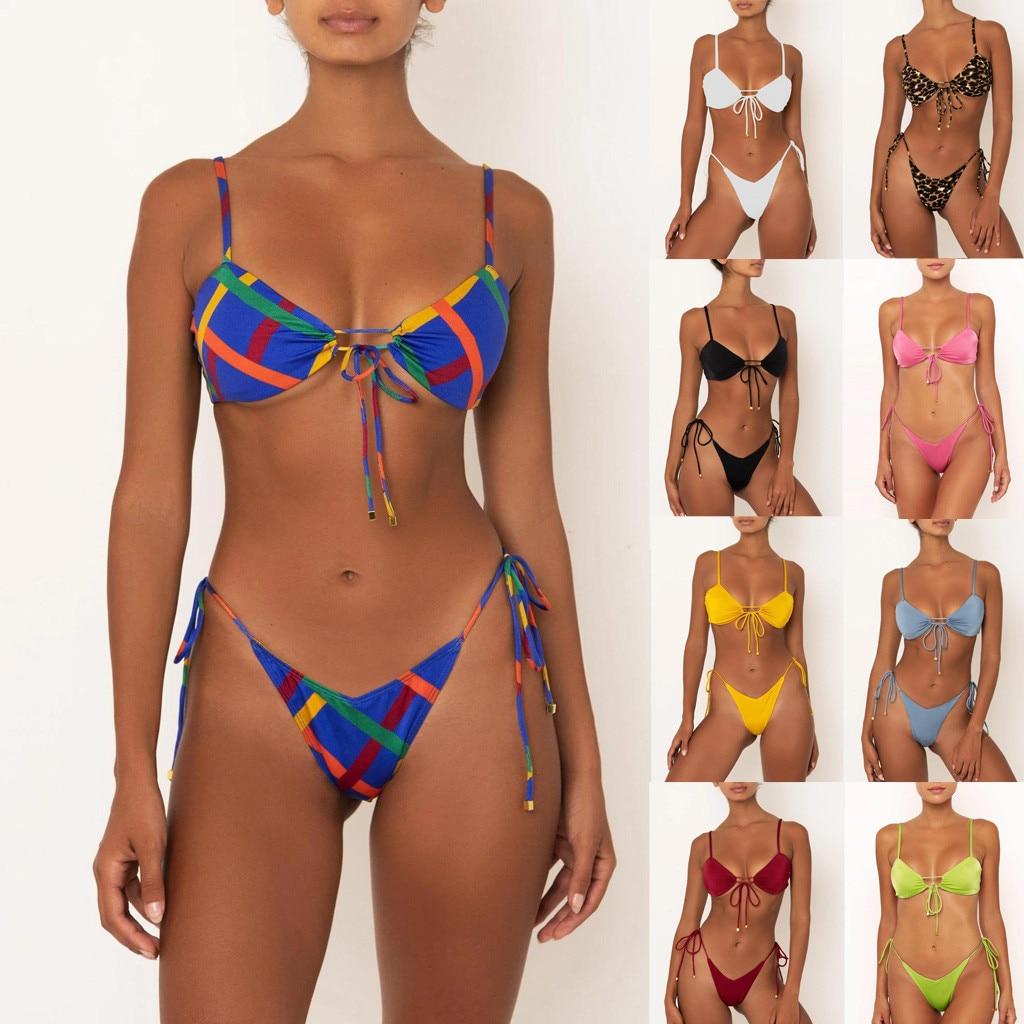 Swimming Suit 2021 Summer Women's Print Split Swimsuit Fashion Swimwear Beachwear Bikini Female Biquini Maillot De Bain Femme