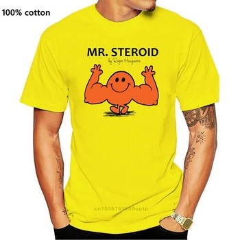 Mr Steroid Funny Mens Gym Training Workout Muscles White Novelty New T-Shirt Tee Tshirt Tee Shirt image