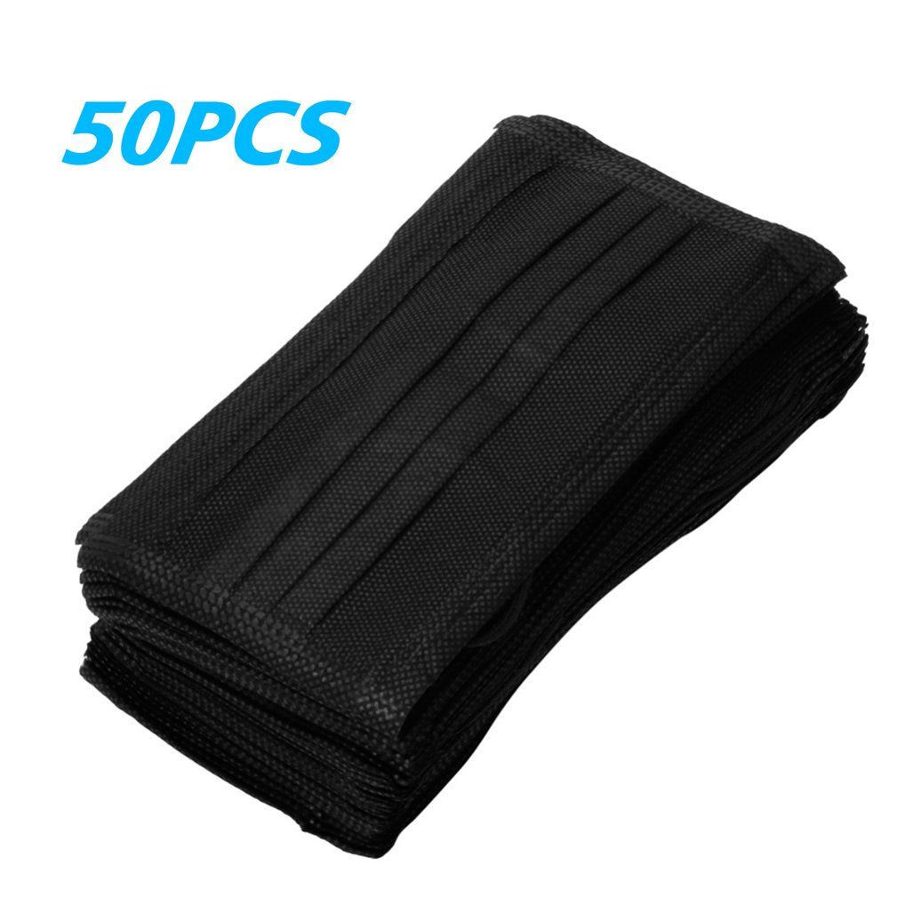 50pcs 3-Ply Earloop Black Filter Disposable Mask Adjustable 3D Breathable Comfortable For Kids Adult Face Mouth Masks Hot