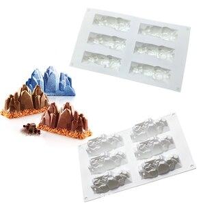 Moule à gâteau en Silicone de montagne de neige 6 trous pour Mousses gâteau au fromage à la crème glacée Dessert français bricolage 3D moule à Cupcake
