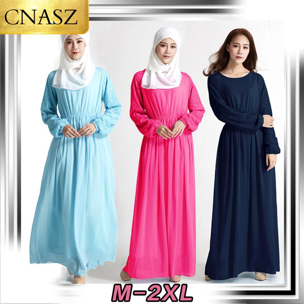 2019 New Fashion Muslim Lady Long Skirt Islamic Turkey Chiffon Solid Color Sweet Lace Hollow Dress Dubai Casual Wild Clothing