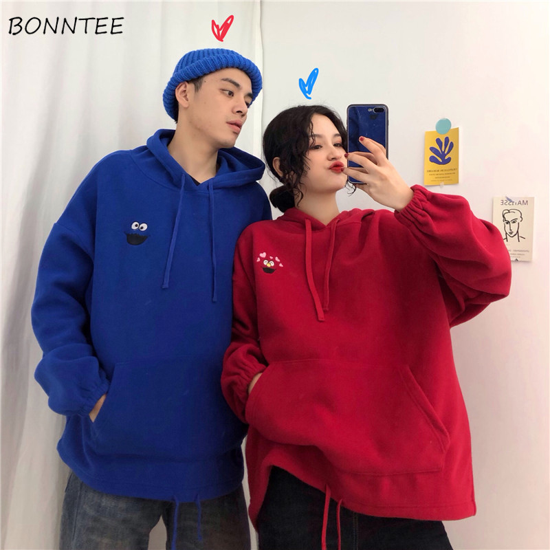 Hoodies Women Printed Embroidery Pockets Loose High Quality Soft Warm Womens Korean Style Streetwear Hoodie Leisure Couples Chic