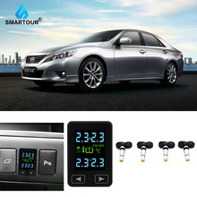 цена на Smartour For Toyota  Auto Wireless TPMS Tire Pressure Monitoring System with 4 Sensors LCD Display Embedded Monitor