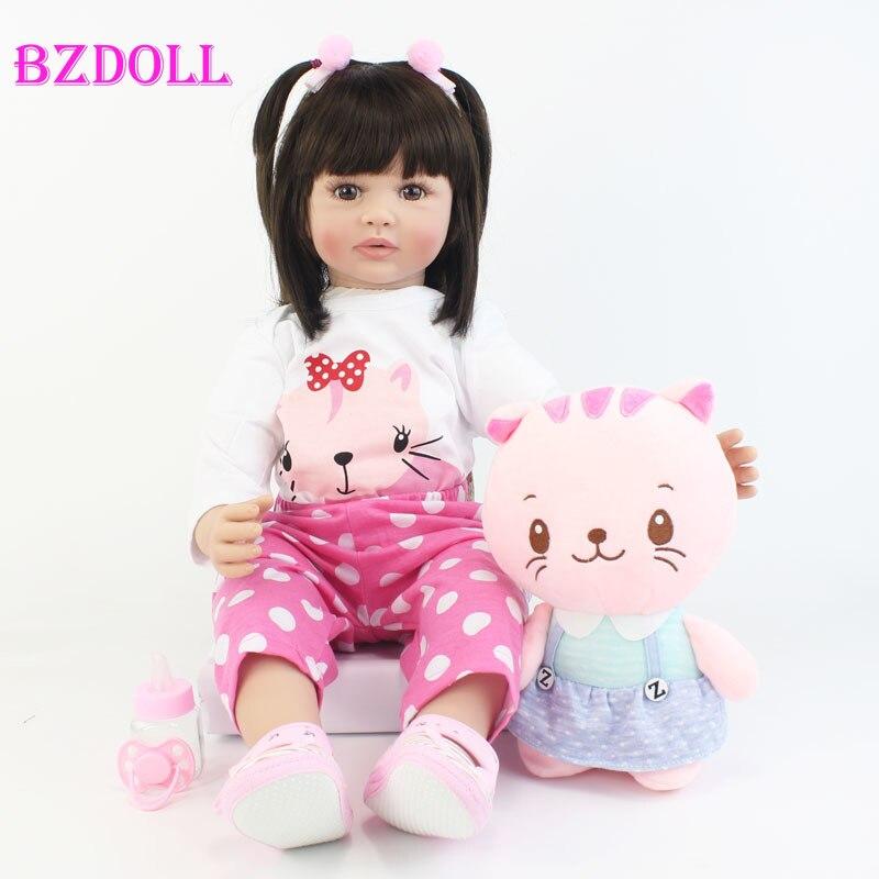 60cm Große Größe Weichen Silikon Vinyl Reborn Baby Puppe Spielzeug Prinzessin Kleinkind Babys Lebendig Bebe Boneca Begleit dressing Puppe
