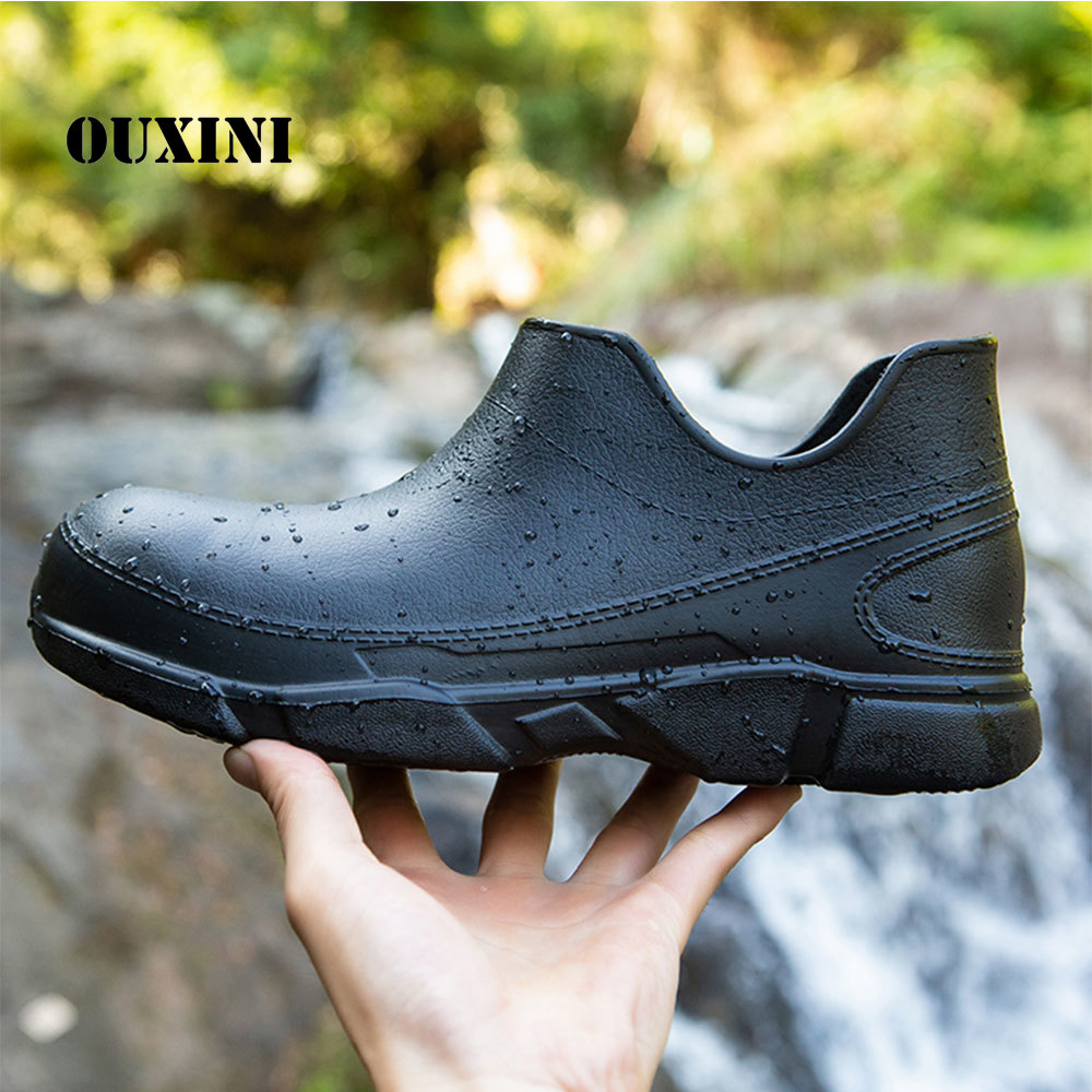 Men's Black Color Chef Shoes Flat Short Tube Kitchen Waterproof Boots Soft Bottom Hotel Restaurant Canteen Non-slip Work Shoes