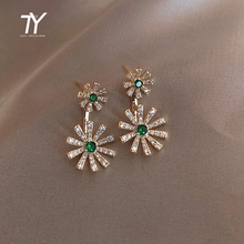 2020 new luxury green crystal flower flower dangle Earrings for woman elegant Korean jewelry sexy girl party matching earrings