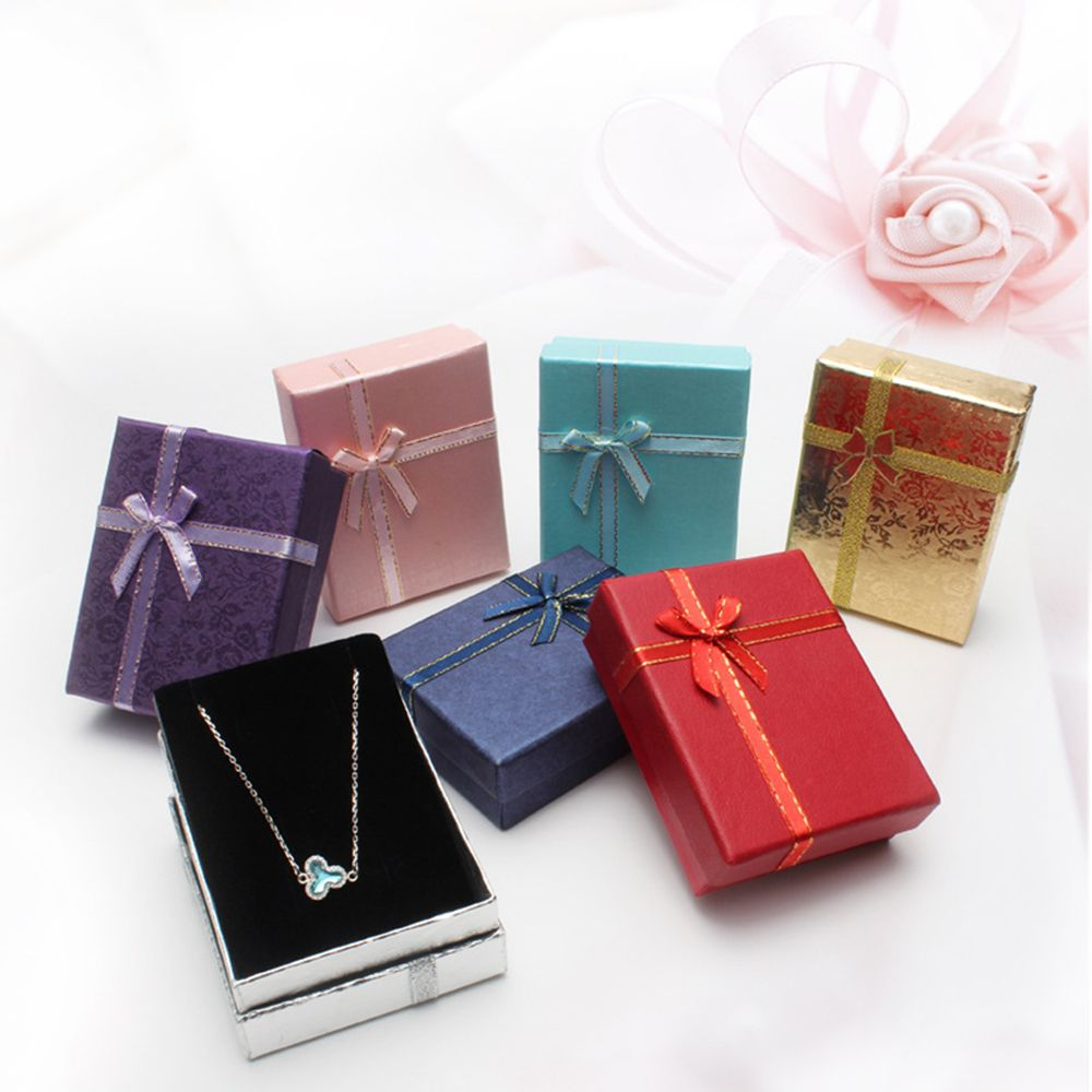 9*7*3cm Shiny Jewelry Box Necklaces Earrings Bracelets Boxes Gift Packing Wholesale Display Classic Bowknot 1 Piece New Arrival