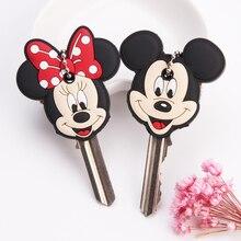 Karikatür Anime sevimli anahtar kapağı silikon Mickey dikiş ayı anahtarlık kadınlar hediye baykuş Porte Clef minnie anahtarlık