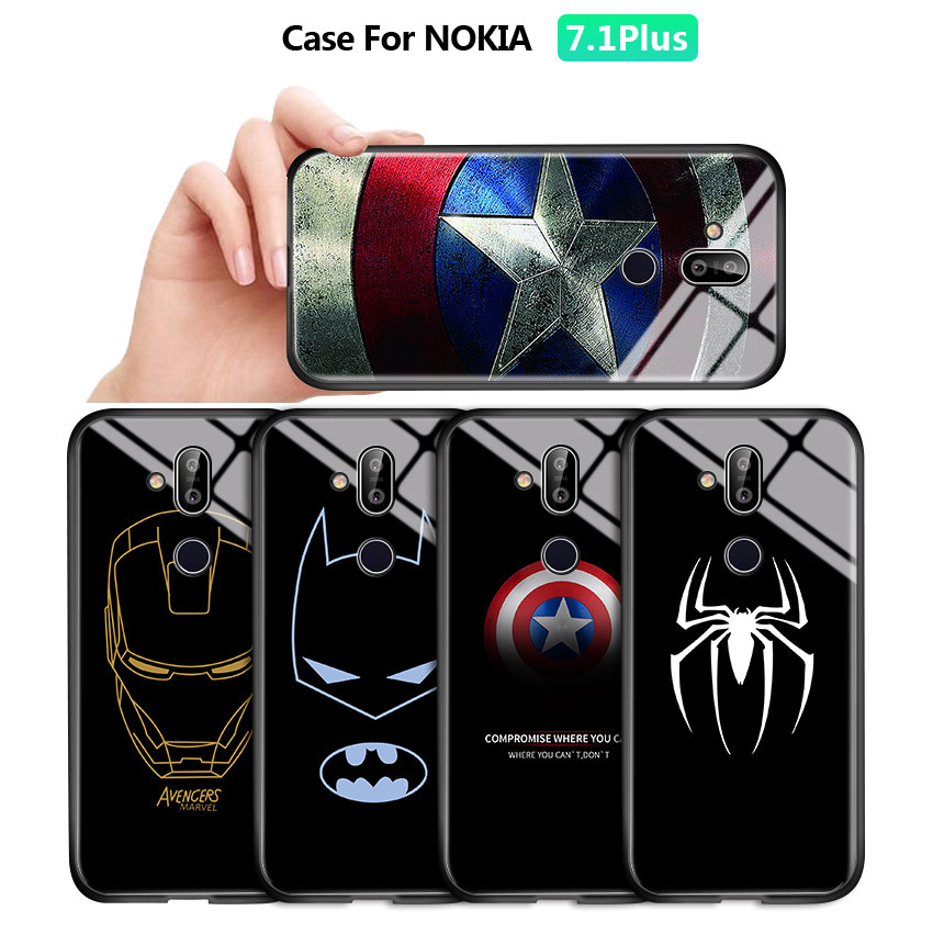 For <font><b>Nokia</b></font> 3.1 <font><b>6.1</b></font> 7 7.1 <font><b>Plus</b></font> X6 X7 Marvel Superhero Ironman Shockproof Tempered Glass <font><b>Back</b></font> Case <font><b>Cover</b></font> <font><b>Silicone</b></font> Soft Edge Casing image