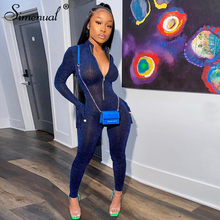 Simenual Glitter Silk Striped Fitness Rompers Womens Jumpsuits Workout Sporty Active Wear Fashion Long Sleeve Zipper Jumpsuits