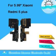 המקורי M & סן USB טעינת נמל מטען לוח Flex כבל עבור Xiaomi Redmi 5 בתוספת מזח תקע מחבר עם מיקרופון להגמיש כבל