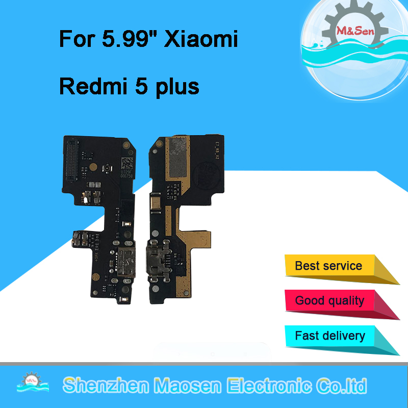 Original M&Sen USB Charging Port Charger Board Flex Cable For Xiaomi Redmi 5 Plus Dock Plug Connector With Microphone Flex Cable
