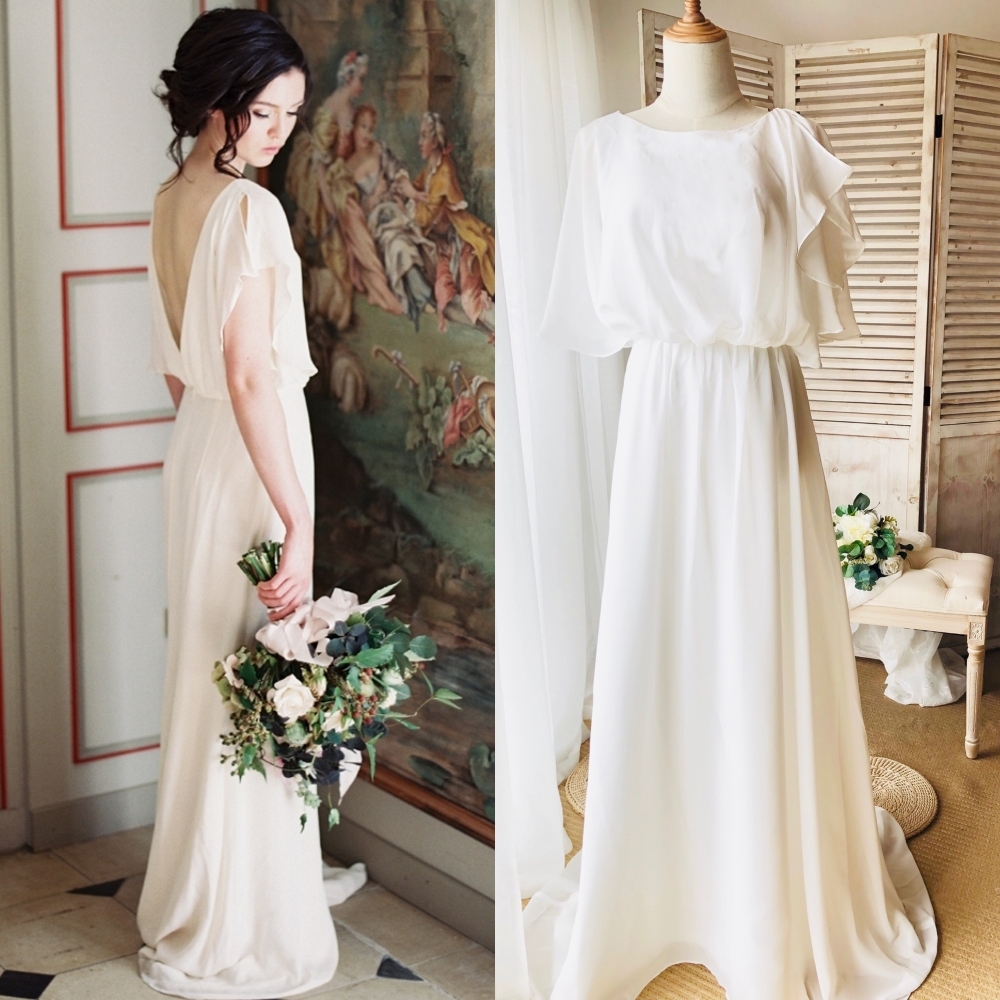 Simple Backless Chiffon Bride Bridal Gown Wedding Party Photography Bridesmaid Real Factory Real Sample Photo