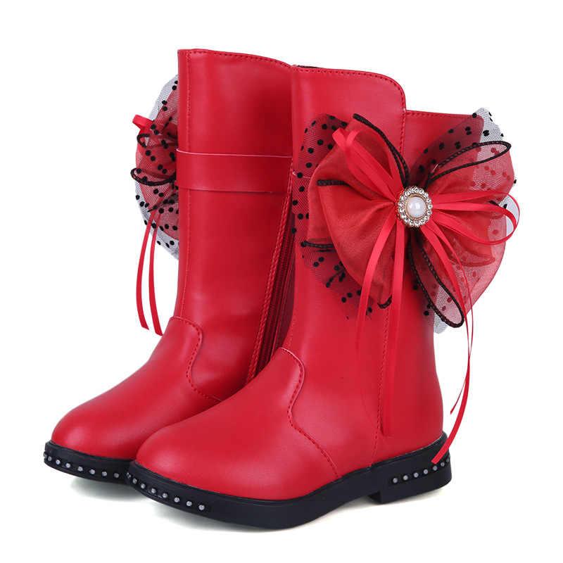 Kız botları sonbahar ve kış 2019 yeni artı kadife çocuk deri çizmeler yay büyük çocuk prenses çocuk ayakkabı kız kar botları