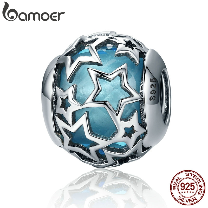 BAMOER 925 Sterling Silver Radiant Hearts, Sky-Blue Crystal & Clear CZ Charm Fit  Bracelet & Necklace Jewelry Accessories SCC411